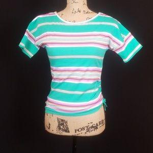 Chaps green striped side ruching tee shirt T135